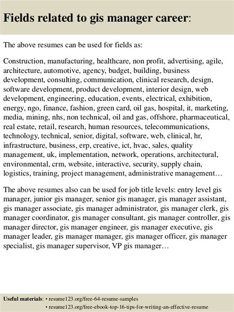 top 8 gis manager resume sles