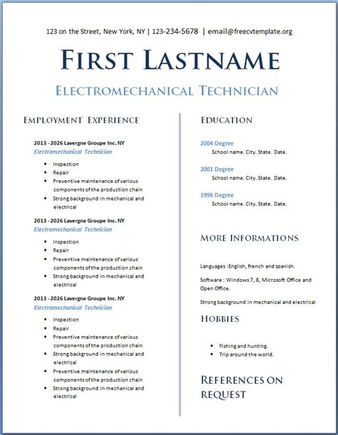 Cv Template With No Experience Free Cv Template Dot Org