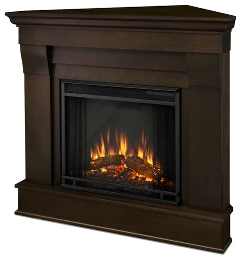 chateau corner electric white fireplace traditional