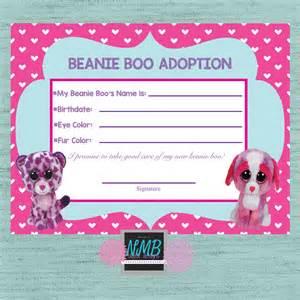 beanie boo adoption certificate 8 1 2 x 11 amp 5 x7