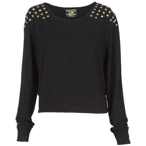 Black Jumper Cc black stud shoulder crop knit jumper 20 liked on polyvore don t sweater it