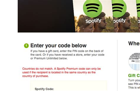 Is There Spotify Gift Cards - spotify gift card countries not matching web applications stack exchange