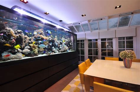 Fish Tank Dining Room Table by Panoramic Wall Mounted Aquarium