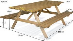 table pique nique en bois foresti 232 re 200x75 cm achat