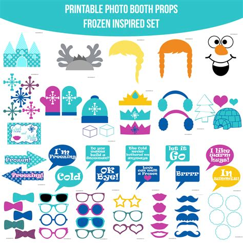 printable frozen set instant download frozen inspired printable photo booth