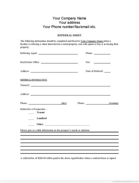 referral form template the world s catalog of ideas
