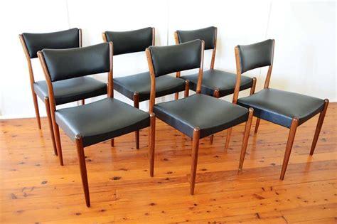 1960s Black Parker Dining Chairs X 6 Solid Teak Vinyl Retro Vinyl Dining Chairs