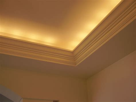 tray ceiling with indirect lighting cove molding