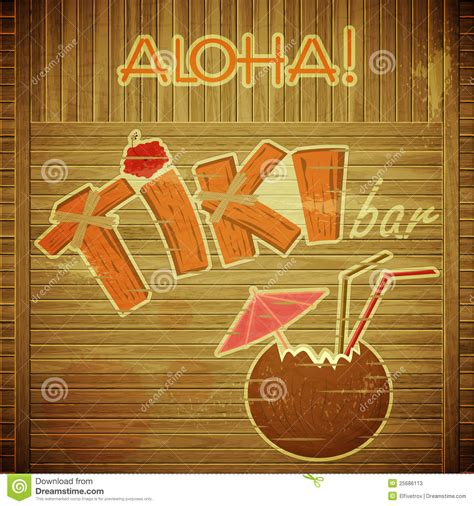 Retro Design Tiki Bar Menu On Wooden Background Stock Photos Image 25686113 Tiki Bar Menu Template