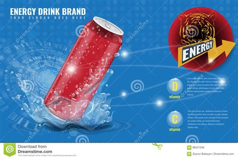 vital z energy drink energy drink metal can mockup with water splash and drops