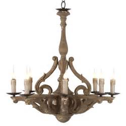 Chandelier Lights Castille Rustic Carved Wood European 8 Light Chandelier