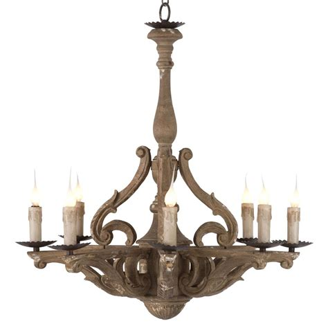 Castille Rustic Carved Wood European 8 Light Chandelier Chandelier Lights