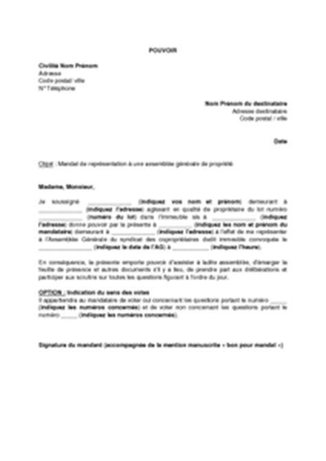 Modèle De Pouvoir De Représentation En Justice modele procuration assemblee generale sci document