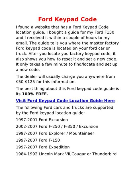 how to reset keypad on ford expedition ford keypad code