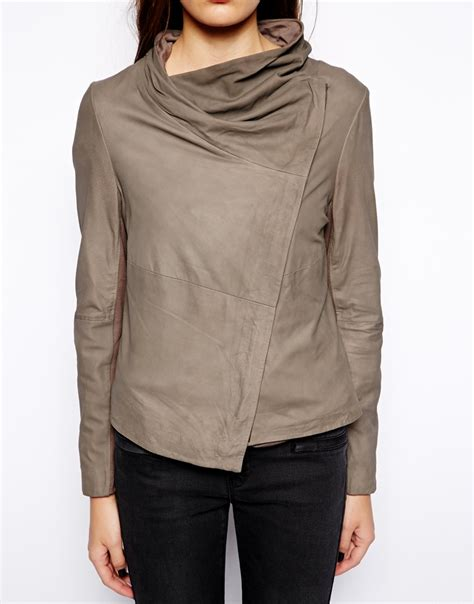 leather drape jacket muubaa sinoia drape leather jacket in gray lyst