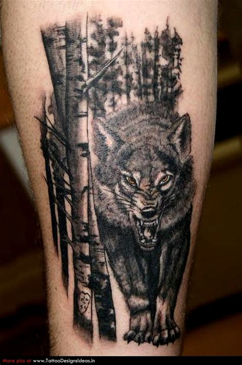 wolf tree tattoo bad wolf in the forest wolf tattoos