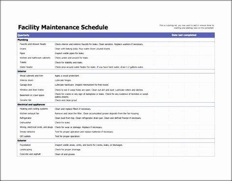 7 Facility Maintenance Checklist Template Sletemplatess Sletemplatess Facilities Management Plan Template