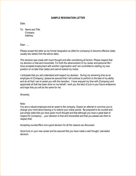 Resignation Letter Writing Tips Writing A Resignation Letter Best Business Template