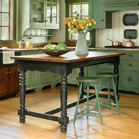 farm table kitchen island kitchen island designs we love green cabinets green kitchen and style