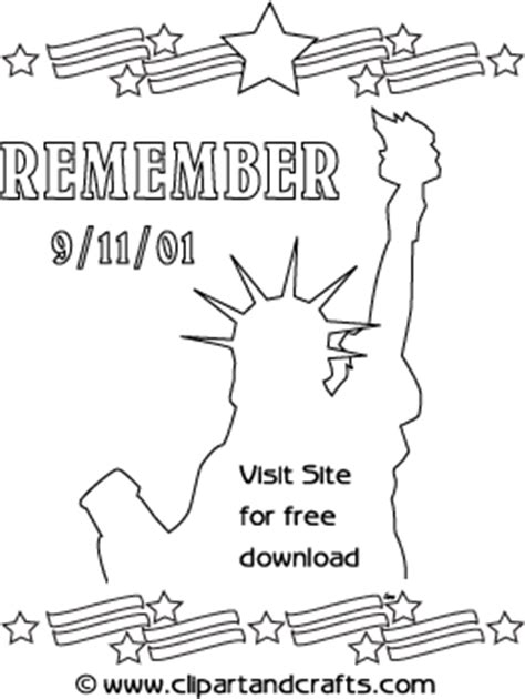 remember 9 11 statue of liberty design coloring poster