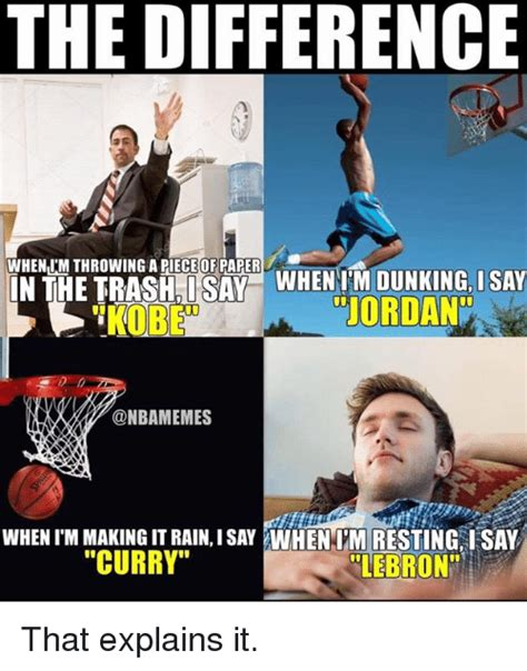 Paper Throwing Meme - the difference whenm throwing a pieceofpaper kobe jordan