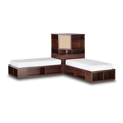 White Corner Unit Bedroom Furniture Brown Wooden Carpenter Corner Bed With Cabinet Storage Also White Mattress For