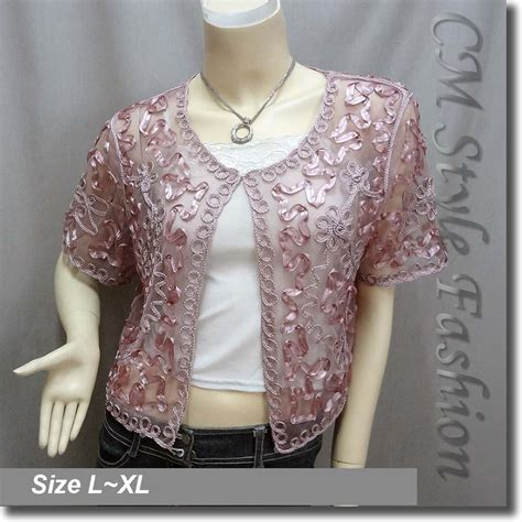 Embroidery Top Pink applique embroidery mesh bolero top pink