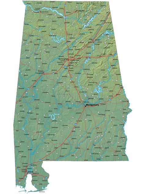 map of alabama detailed alabama map al terrain map