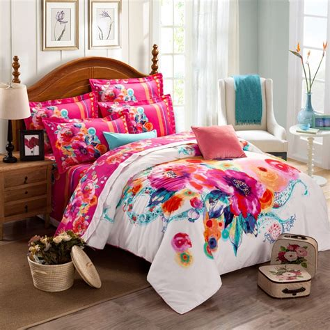colorful queen comforter sets deep pink turquoise and white watercolor painting exotic