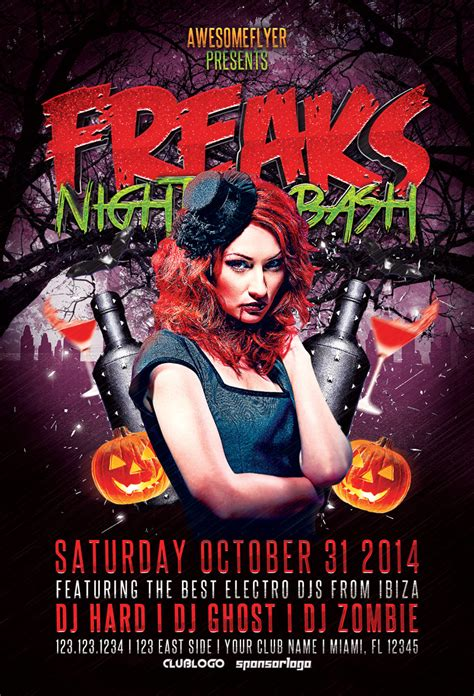 freaks night halloween party flyer awesomeflyer com