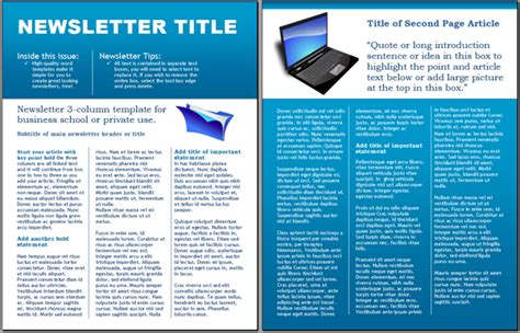 templates for newsletters in word worddraw technology business newsletter template for