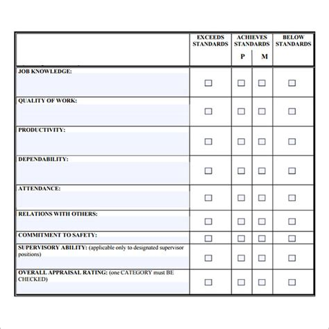 staff form template staff evaluation sle 9 documents in pdf