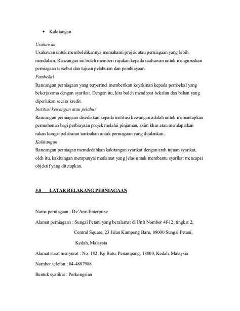 format proposal untuk memulakan perniagaan rancangan perniagaan