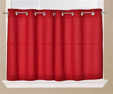 curtain tiers jackson textured solid red kitchen curtain choice tiers or
