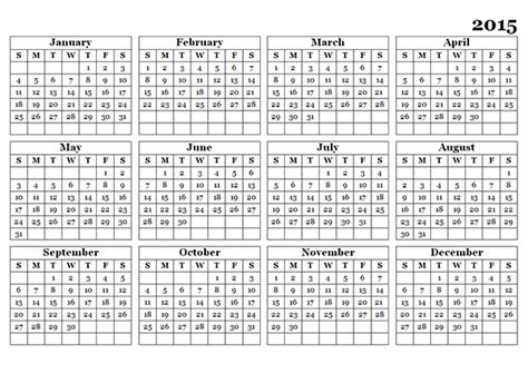 printable yearly calendar 2015 holidays