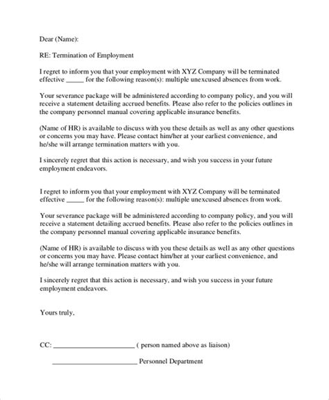 Employment Discharge Letter Sle Employment Termination Letter 7 Documents In Pdf Word