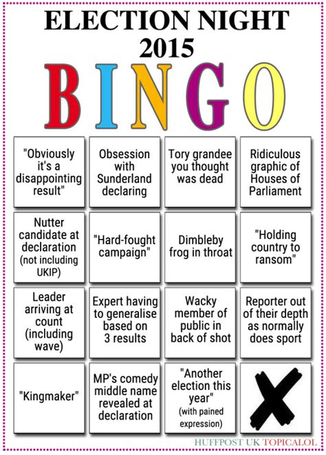 Election Night 2015 As It Happened Politics The Guardian | election night 2015 the bingo card