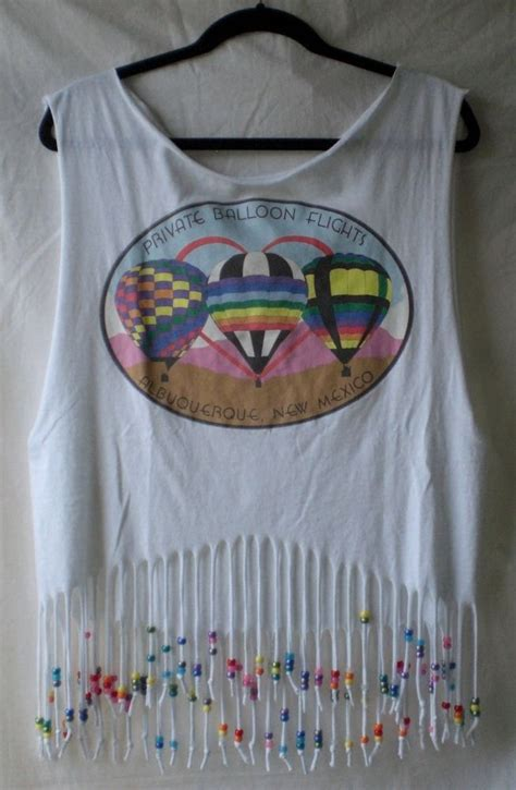 how to fringe and bead a shirt air balloon diy beaded rainbow fringe tank top