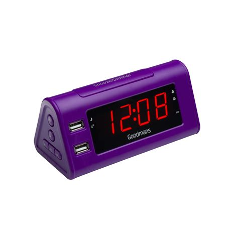 new goodmans gcrusb03 alarm clock radio with dual usb charging purple ebay