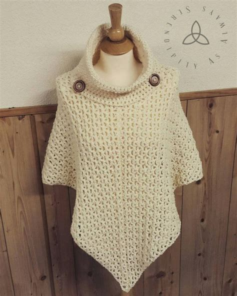 crochet ideas for women on pintrest crochet pattern cowl neck poncho women s by