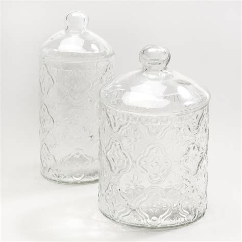 clear glass canisters for kitchen clear tile glass canisters world market