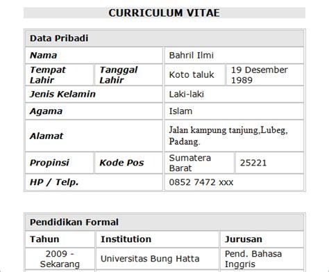 contoh surat lamaran curriculum vitae pekerjaan bahasa indonesia