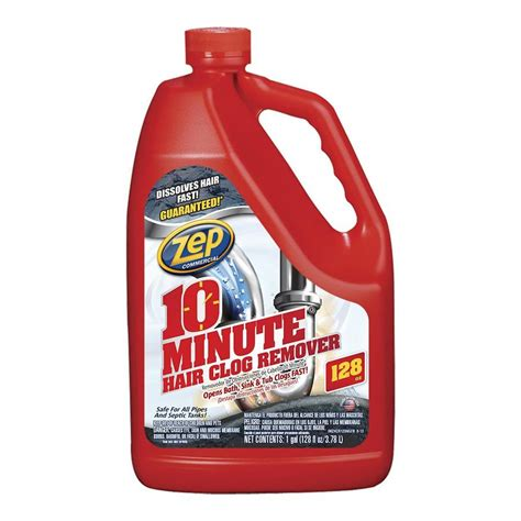 shop zep commercial 10 minute hair clog remover 128 oz