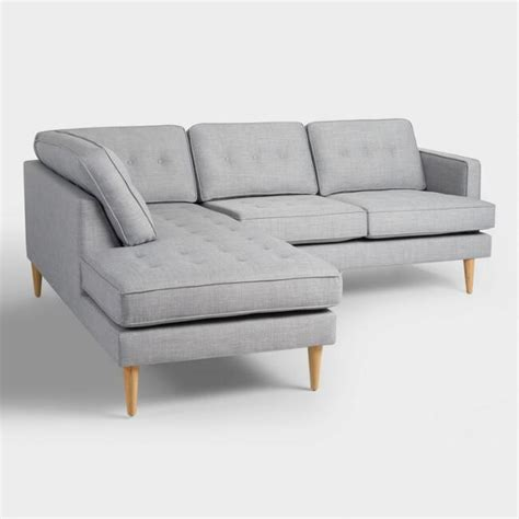 world market apel sofa dove gray woven apel sectional sofa with chaise world market