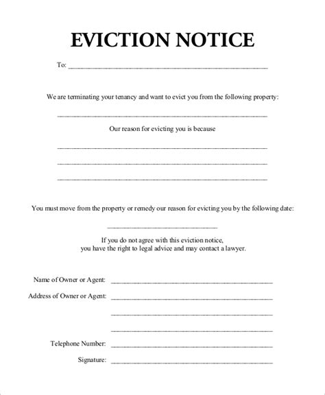 7 Eviction Notice Sles Sle Templates Free Eviction Notice Template