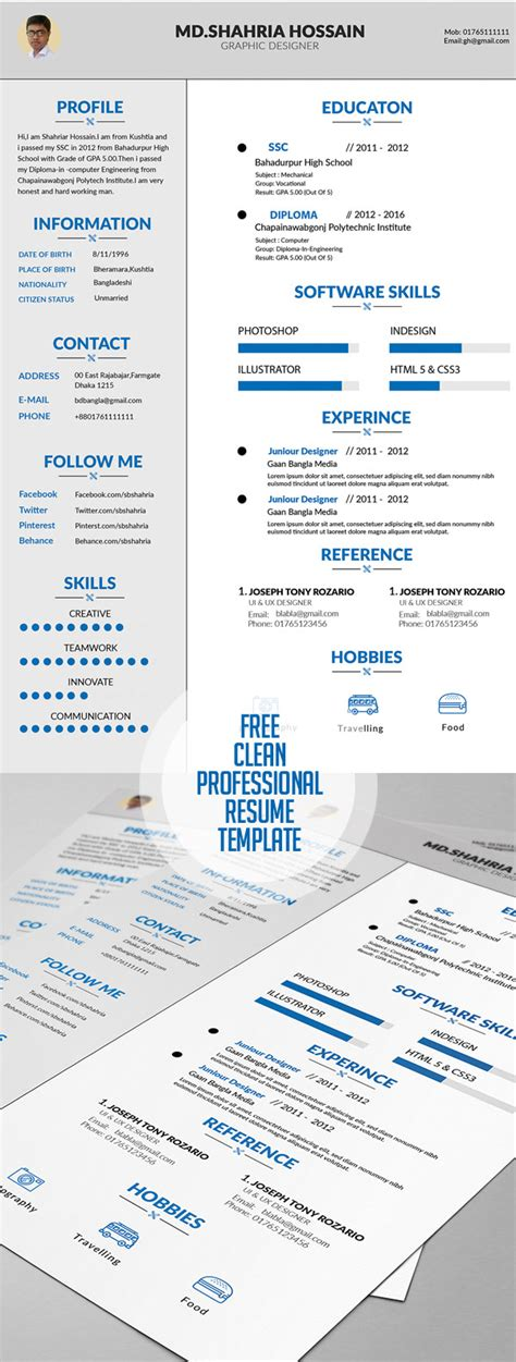 Free Graphic Design Resume Template by 20 Free Cv Resume Templates 2017 Freebies Graphic