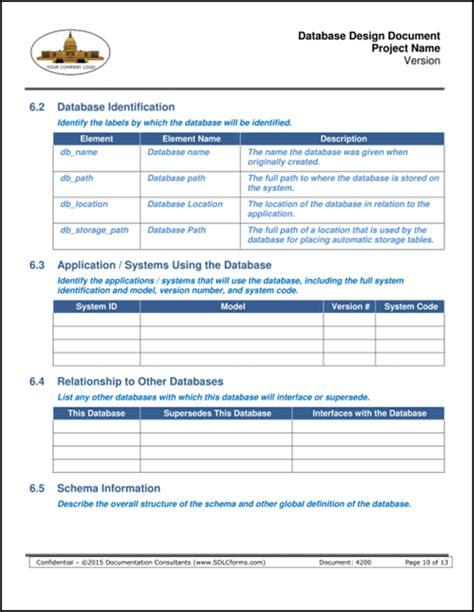 design form database sdlcforms database design document