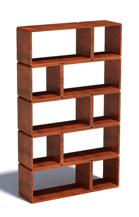 modular wood block shelf 3d model cgtrader com