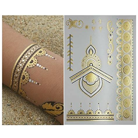 flash tattoo in dubai henna metallic flash temporary tattoo 6 sheets gold