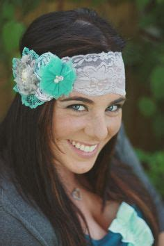 grey and aqua rosette chiffon flower and lace vintage inspired headband with pearls 19 00